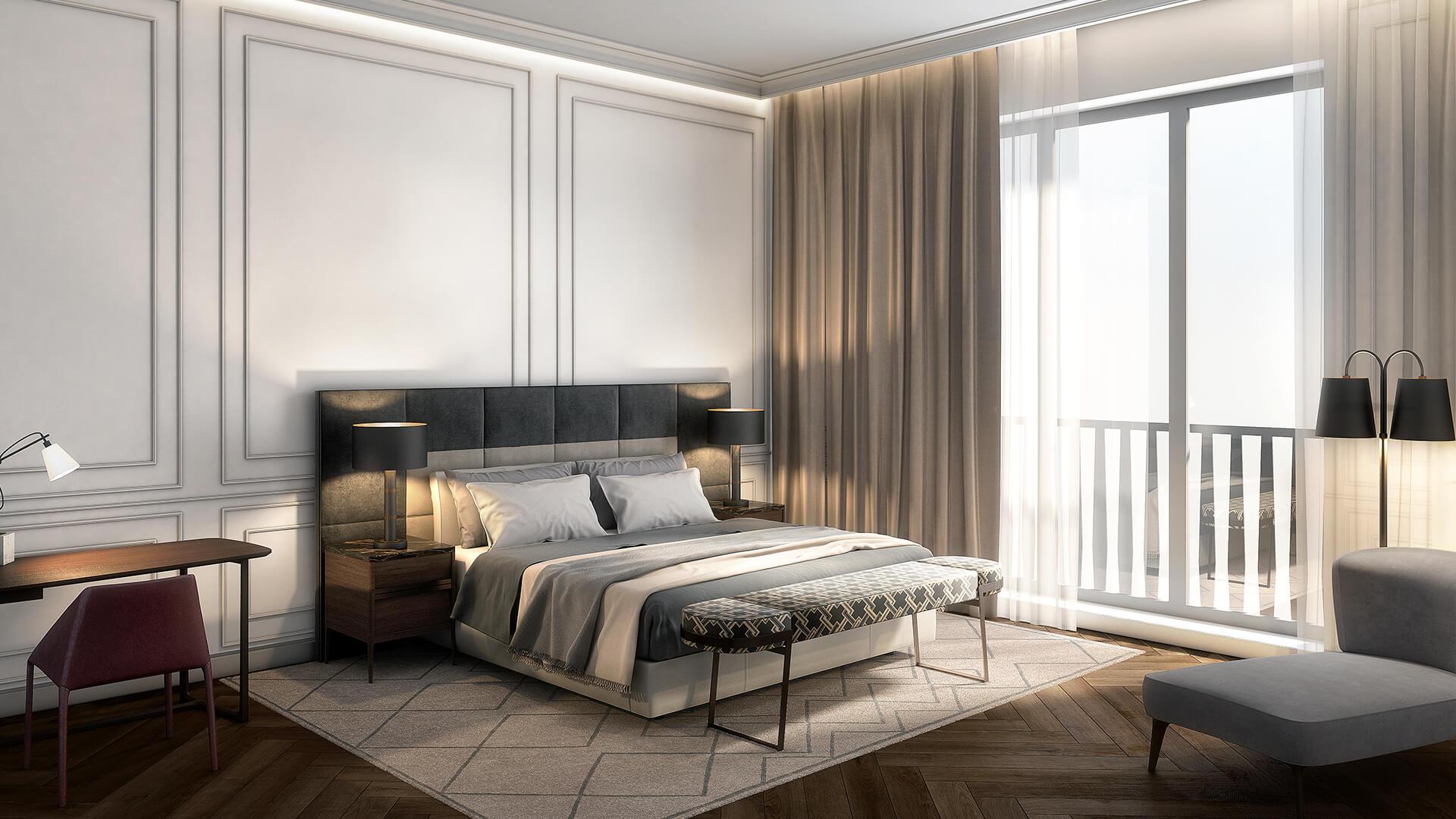Интерьер спальни Rockwell Group