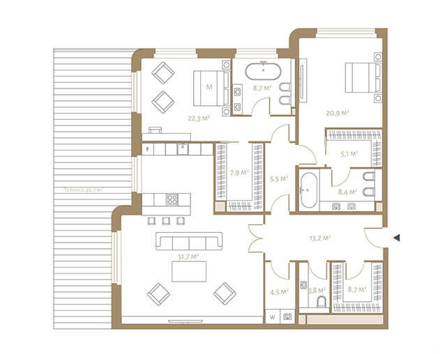 Планировка апартаментов с двумя спальнями и террасой