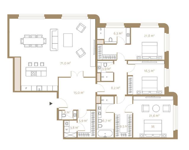 Планировка апартаментов с тремя спальнями и видом на Оружейный