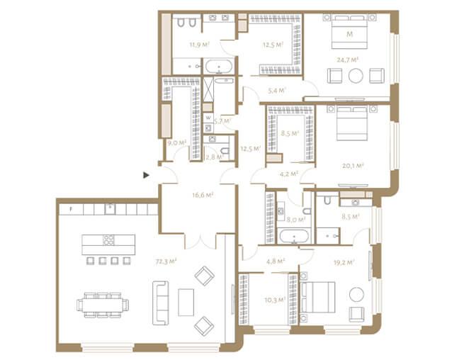 планировка апартаментов 8 этажа, 4 комнаты, 257 м.кв. в жк Fairmont