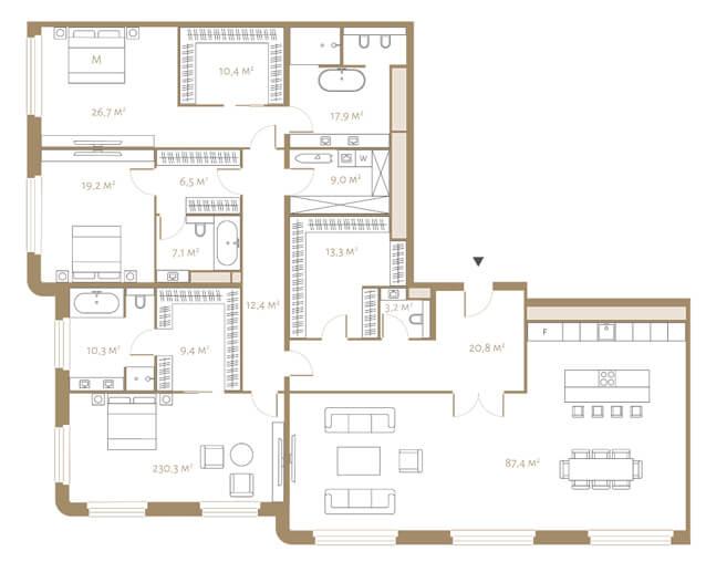 Планировка апартаментов с тремя спальнями и видом на Тверскую