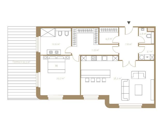 Планировка апартаментов с террасой и одной спальней