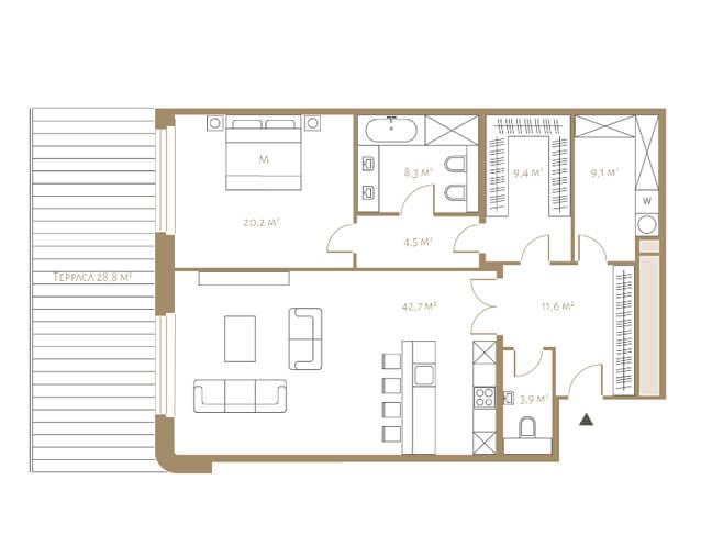 планировка апартаментов 3 этажа, 2 комнаты, 109 м.кв. в жк Fairmont