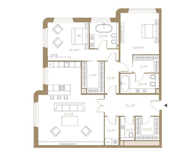 Планировка апартаментов с двумя спальнями