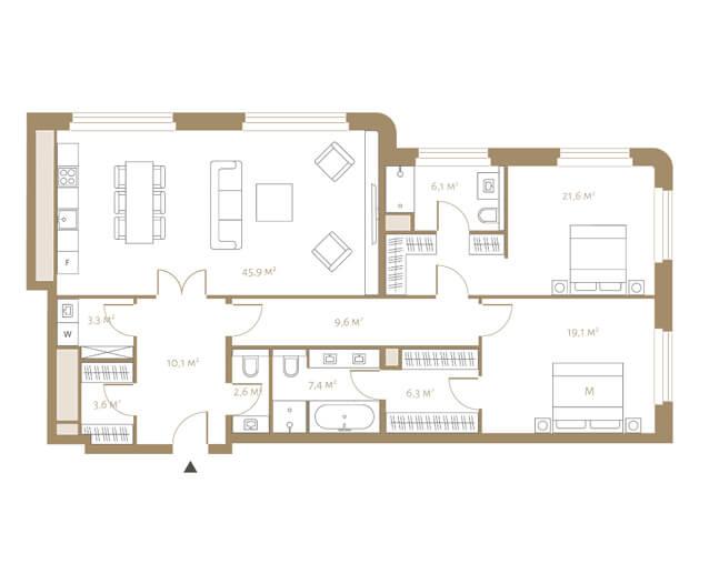 планировка апартаментов 4, 5 и 6 этажа, 3 комнаты, 135,6 м.кв. в жк Fairmont