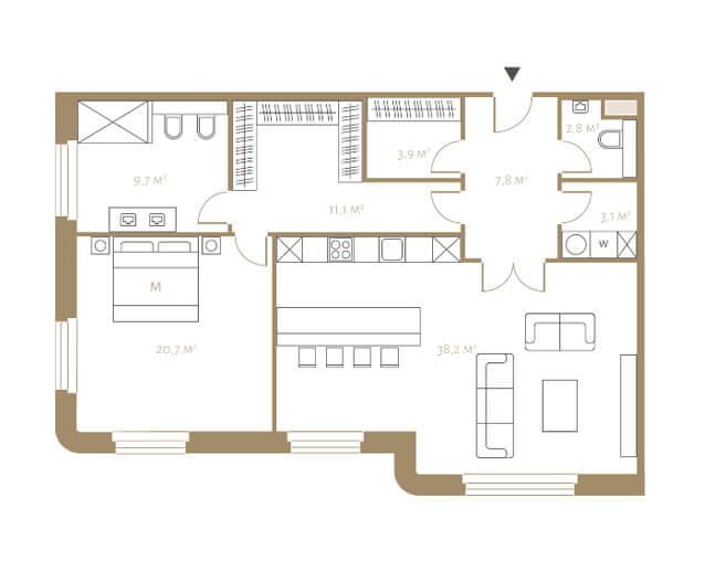 Планировка апартаментов с одной спальней и видом на Тверскую