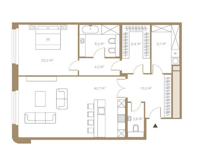 планировка апартаментов 4, 5, 6 и 7 этажа, 2 комнаты, 108 м.кв. в жк Fairmont