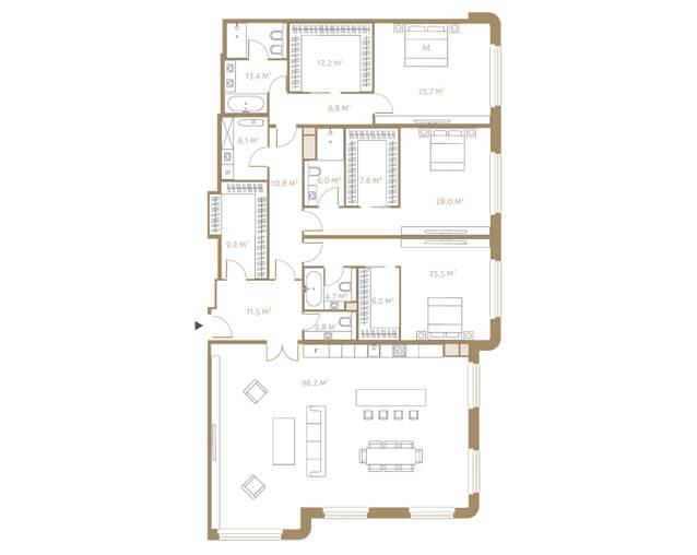 планировка апартаментов 7 этажа, 4 комнаты, 272,7 м.кв. в жк Fairmont