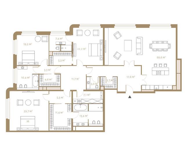 планировка апартаментов 8 этажа, 4 комнаты, 244,9 м.кв. в жк Fairmont
